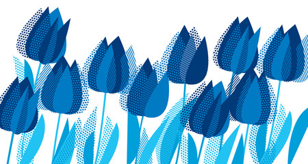 Graphic tulip flowers in monochrome blue color