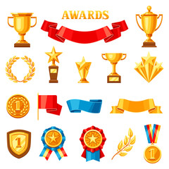 Awards and trophy icons set.