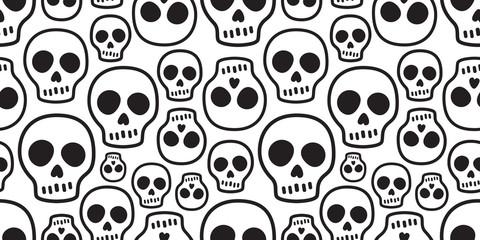 skull seamless pattern vector Halloween Crossbones bone Ghost poison tile background scarf isolated repeat wallpaper illustration