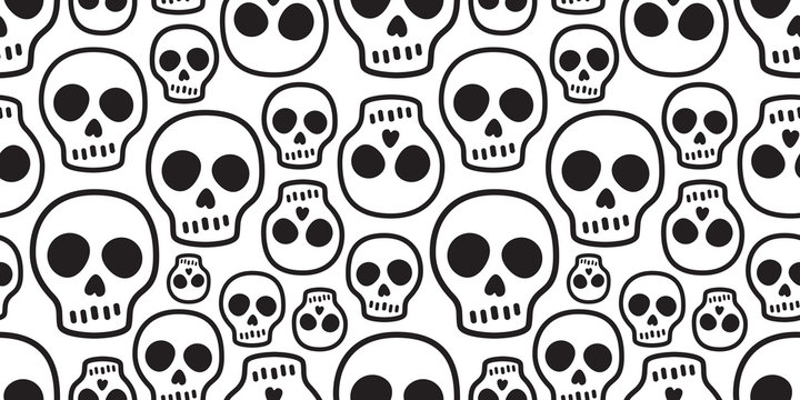 skull seamless pattern vector Halloween Crossbones bone Ghost poison tile background scarf isolated repeat wallpaper illustration