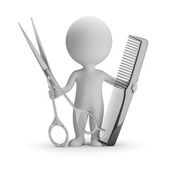 3d small people - hairdresser with scissors and comb