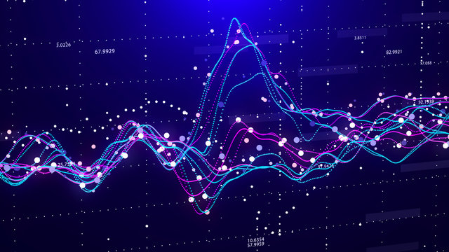 Stock market chart. Big Data. Business Graph. Investment graph. Abstract financial chart. 3D rendering.