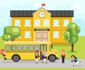 School bus boy girls pupil education building student knowledge child flat design vector illustration