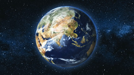 Wall Mural - Realistic Earth Planet, rotating on its axis in space against the background of the Milky Way star sky. Astronomy and science concept. Continents and oceans. Elements of image furnished by NASA