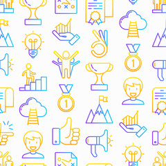 Success seamless pattern with thin line icons: trophy, idea, mountain peak, career, bullhorn, strategy, ladder, winner, medal, award, good choice, easy, certificate. Modern vector illustration.