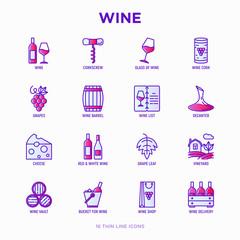 Wine thin line icons set: corkscrew, wine glass, cork, grapes, barrel, list, decanter, cheese, vineyard, bucket, shop, delivery. Modern vector illustration.