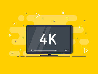 Flat screen tv with 4k Ultra HD video technology. LED television display on yellow background with high definition digital tech symbol. Vector Illustration.