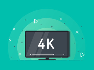 Flat screen tv with 4k Ultra HD video technology. LED television display on green background with high definition digital tech symbol. Vector Illustration.