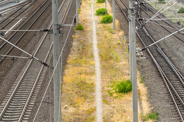 Alienated image of a footpath running between two railway tracks for trains