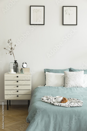 Real Photo Of White Bedroom Interior With Breakfast Placed On Bed Interesting Simple White Bedroom Interior