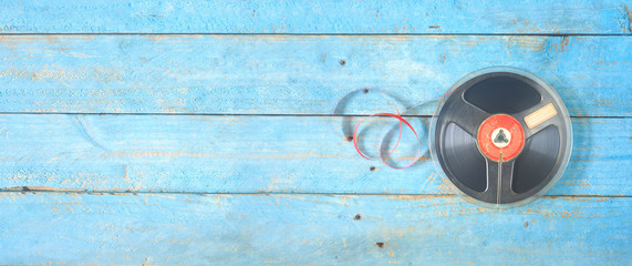 Vintage reel to reel  tape on spool, panoramic, good copy space