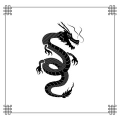 Vector Oriental Dragon, Black Tattoo Style Silhouette with Traditional Frame.