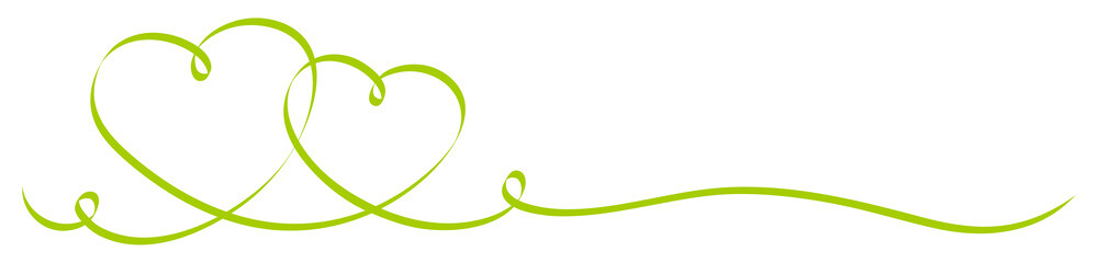 2 Connected Green Calligraphy Hearts Ribbon Banner