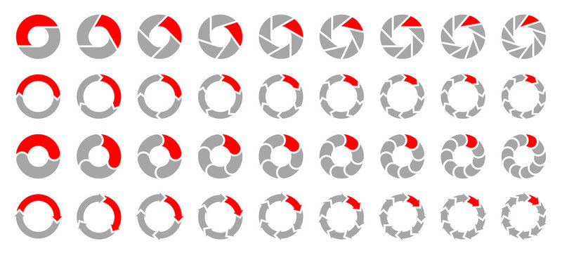 Square Set Pie Charts Arrows Grey/Red