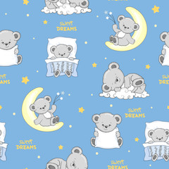 Seamless pattern with cute sleeping Teddy Bears.