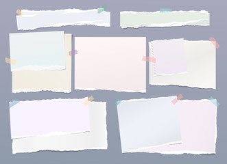 Pastel note, notebook paper pieces with torn edges stuck with colorful sticky tape on gray backgroud. Vector illustration.