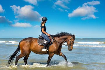 Papiers peints Equitation cavalière sur la plage ensoleillée