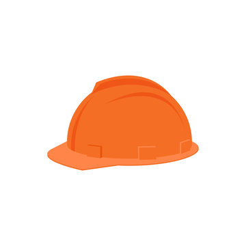 Flat vector icon of plastic orange helmet for construction worker. Protective headgear. Industrial equipment for personal safety