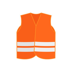 Flat vector icon of orange safety vest waistcoat with two reflective stripes. High-visibility clothing. Protective wear for workers