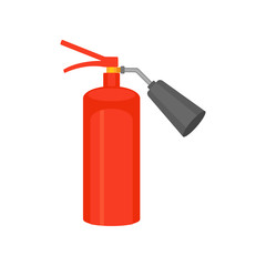 Flat vector icon of bright red fire extinguisher. Flame prevention tool. Illustration for poster or banner about safety and fire protection