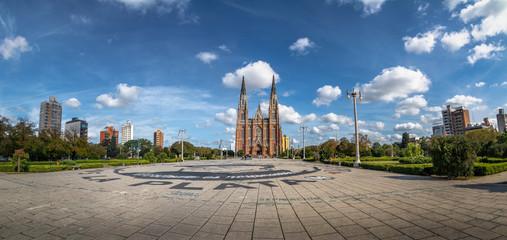 Panoramic view of Plaza Moreno and La Plata Cathedral - La Plata, Buenos Aires Province, Argentina