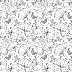 Seamless Endless Pattern of Pumpkin. Half of Whole Orange Pumpkins, Flower, Seeds. Autumn or Fall Vegetable Harvest Collection. Realistic Hand Drawn High Quality Vector Illustration. Doodle Style.