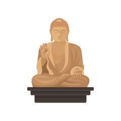 Statue of Big Buddha. Famous historical monument of Taiwan. Religious symbol. Flat vector for map, travel poster or banner
