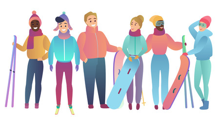 Group of cute cartoon skiers and snowboarders young people Trendy gradient flat color vector illustration.