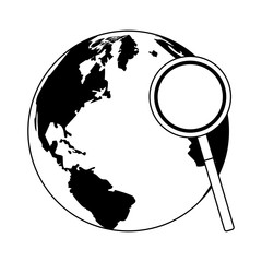 Magnifying glass checking world vector illustration graphic design