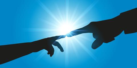 connexion - transmission - symbole - création - main - homme - enfant - Michel Ange - concept -apprendre