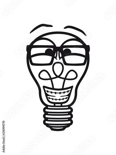 Gesicht Nerd Geek Hornbrille Zahnspange Gluhbirne Licht Strom Idee