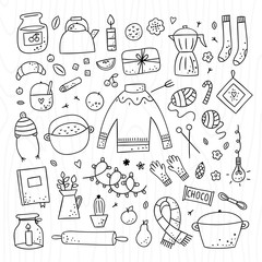 Hygge elements and objects cute hand drawn set. Outline doodle illustrations with interior details and symbols