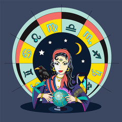The oracle girl predicts the future on a magic ball vector illustration