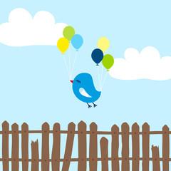 Blue Bird Broken Wing Balloons Fence Blue