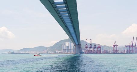 Hong Kong Kwai Tsing Container Terminals and stonecutter bridge