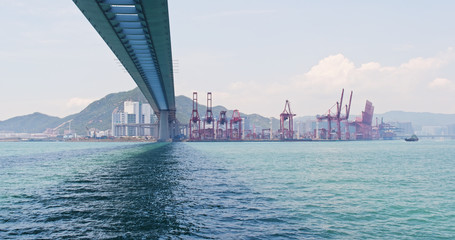 Hong Kong Container terminal port and stonecutter bridge