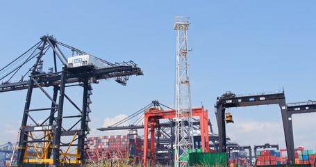 Kwai Tsing Container Terminal in Hong Kong city