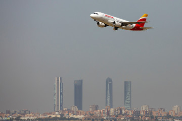 An Iberia Airbus A319 airplane takes off from the Adolfo Suarez Madrid-Barajas airport