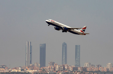 A British Airways Airbus A321 airplane takes off from the Adolfo Suarez Madrid-Barajas airport