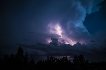 Thunderstorm Clouds with Lightning at the evening