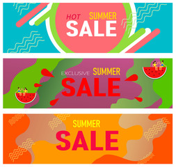 Banners for summer sales. A set of colorful templates with geometric shapes. Ideal for an invitation to advertise, the title of the presentation, the page, vector illustration.
