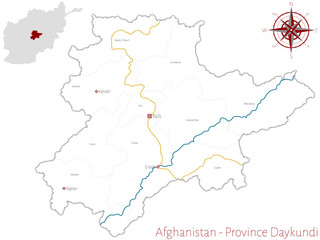 Large and detailed map of the afghan province of Daykundi.