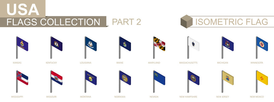 Isometric flag collection, US States set part 2