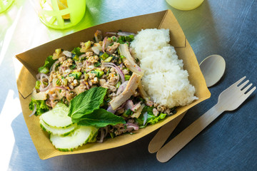 traditional Thailand cuisine, North Eastern Thai-style Spicy Pork Salad.