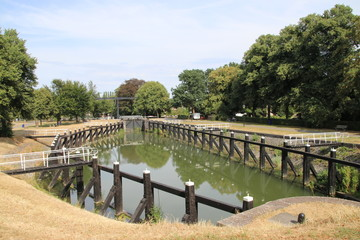 Old historical sluice installation from river IJssel to the city of Zwolle in the Netherlands, nowadays used as a monument