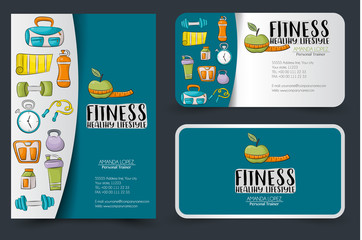 Fitness and healthy lifestyle corporate identity design set. Flyer and business cards. Vector illustrator.