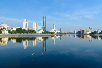 View of city center skyline and Iset river. Yekaterinburg. Russia