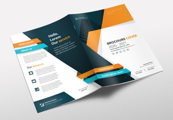 Brochure Layout with Teal, Orange and Blue Accents