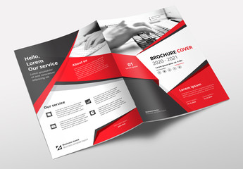 Brochure Layout with Red and Gray Accents