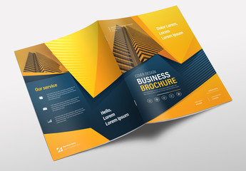 Brochure Layout with Orange and Blue Accents